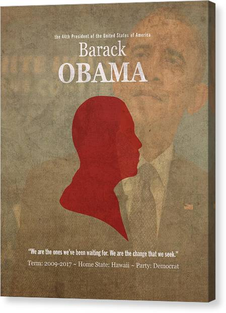 Obama Poster Canvas Print - United States Of America President Barack Obama Facts Portrait And Quote Poster Series Number 44 by Design Turnpike