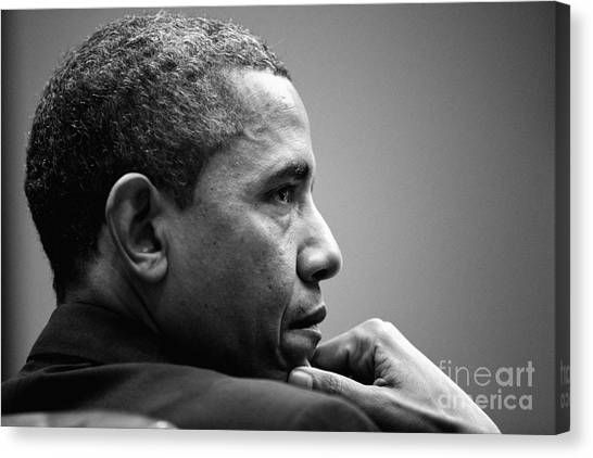 Barack Obama Canvas Print - United States President Barack Obama Bw by Celestial Images