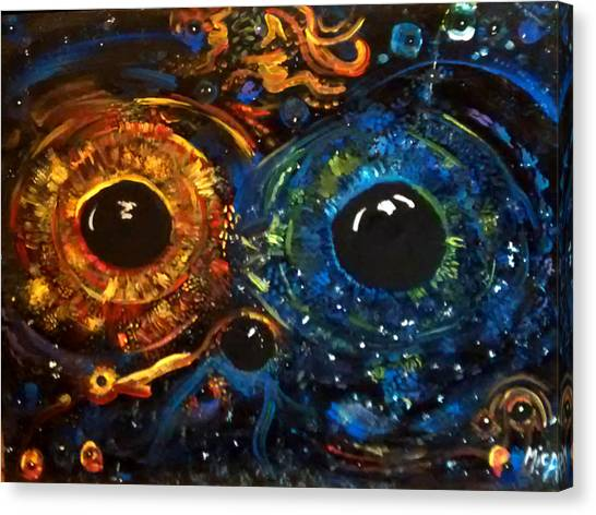 Canvas Print featuring the painting Universe Watching by Michelle Audas