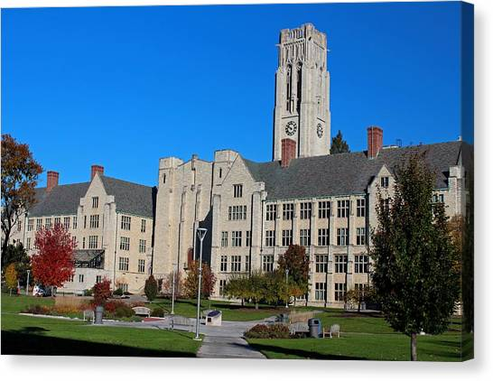 University Of Toledo Canvas Print - University Hall- Campus Mall Side II by Michiale Schneider