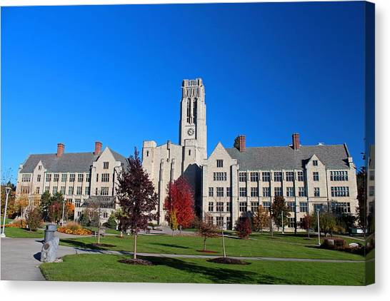 University Of Toledo Canvas Print - University Hall- Campus Mall Side IIi by Michiale Schneider