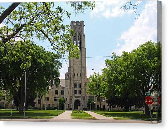 University Of Toledo Canvas Print - University Hall In The Spring by Michiale Schneider