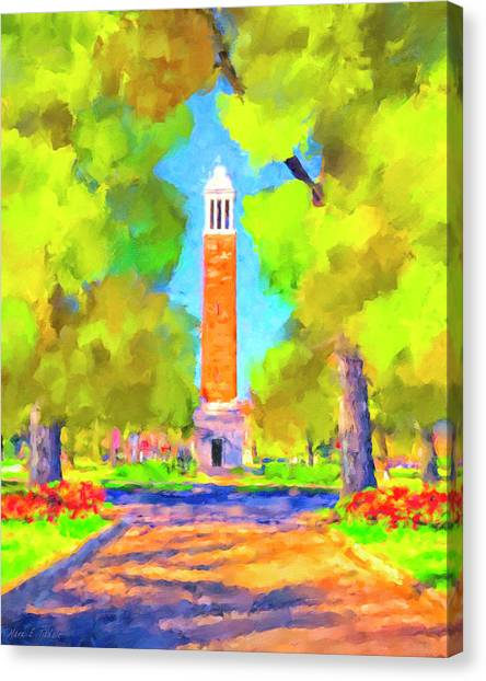 The University Of Alabama Canvas Print - Denny Chimes On The Quad by Mark Tisdale