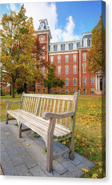 University Of Arkansas Campus In Fall - Old Main Building Canvas Print