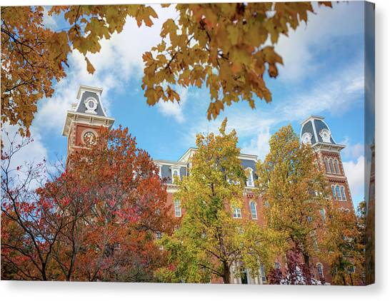 University Of Arkansas Canvas Print - University Of Arkansas Razorback Campus During Autumn by Gregory Ballos
