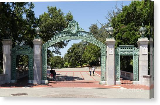 Uc Berkeley Canvas Print - University Of California Berkeley Historic Sather Gate Dsc4076 by Wingsdomain Art and Photography