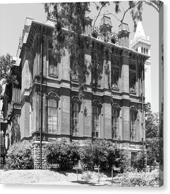 Uc Berkeley Canvas Print - University Of California Berkeley Historic South Hall And The Campanile Dsc4058 Square Bw by Wingsdomain Art and Photography