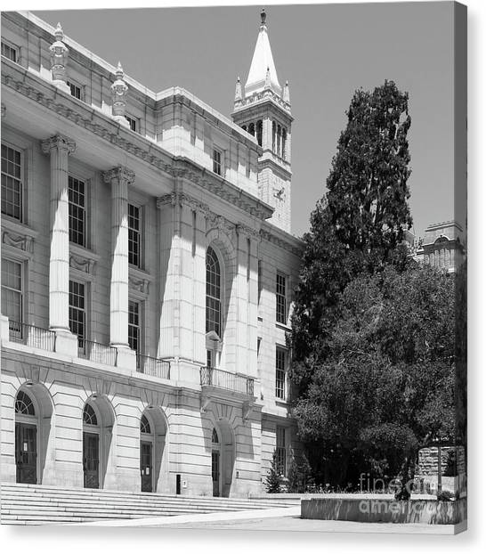Uc Berkeley Canvas Print - University Of California Berkeley Ide Wheeler Hall South Hall And The Campanile Dsc4066 Sq Bw by Wingsdomain Art and Photography