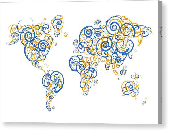 Uc Riverside Canvas Print - University Of California Riverside Colors Swirl Map Of The World by Jurq Studio