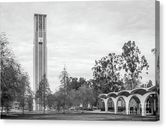 Uc Riverside Canvas Print - University Of California Riverside Tower And Rivera Library by University Icons