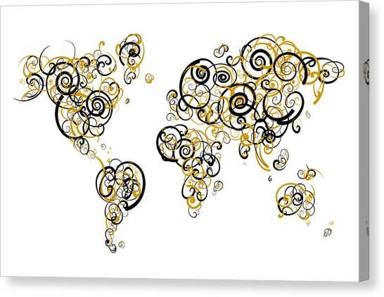 University Of Central Florida Ucf Canvas Print - University Of Central Florida Colors Swirl Map Of The World Atla by Jurq Studio
