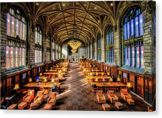 University Of Chicago Canvas Print - University Of Chicago Harper Library by Christopher Arndt