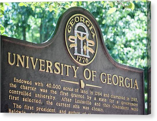 University Of Georgia Canvas Print - University Of Georgia Sign by Parker Cunningham