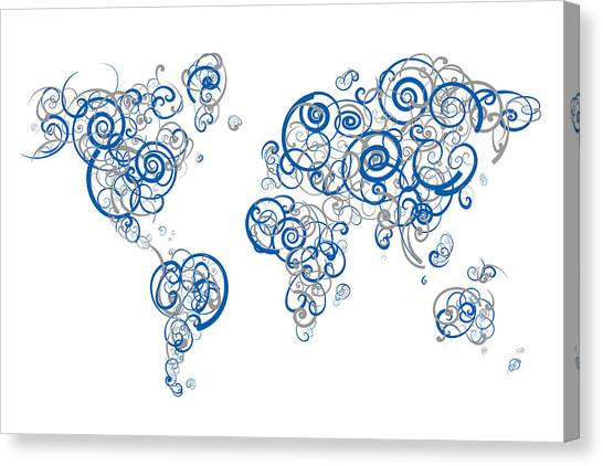 University Of Kentucky Canvas Print - University Of Kentucky Colors Swirl Map Of The World Atlas by Jurq Studio