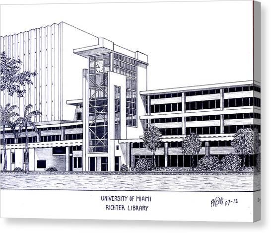 University Of Miami Canvas Print - University Of Miami by Frederic Kohli