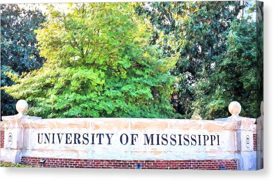University Of Mississippi Ole Miss Canvas Print - University Of Mississippi by JC Findley
