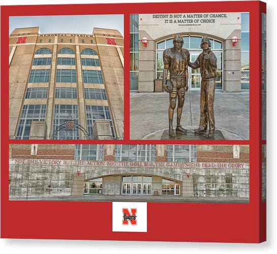 University Of Nebraska Canvas Print - University Of Nebraska Collage by Roberta Peake