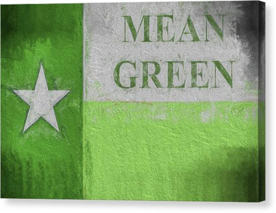 University Of North Texas Unt Canvas Print - University Of North Texas Mean Green Flag by JC Findley