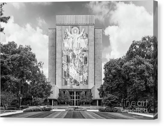 Notre Dame University Canvas Print - University Of Notre Dame Hesburgh Library by University Icons