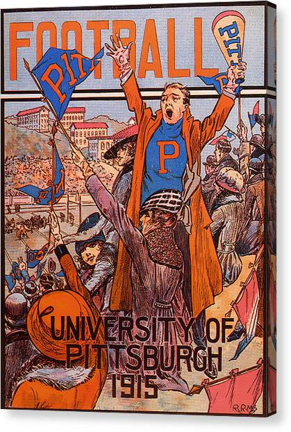 University Of Pittsburgh Canvas Print - University Of Pittsburgh  Football Program 1915 by Mountain Dreams