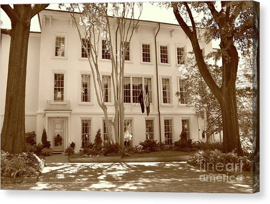 University Of South Carolina Canvas Print - University Of South Carolina President's Residence In Sepia Tones by Skip Willits