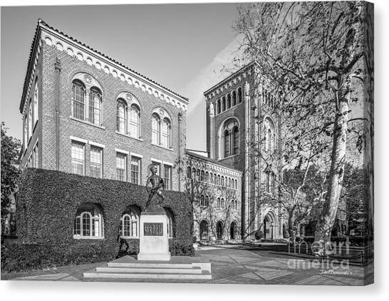 University Of Southern California Admin Bldg With Tommy Trojan Canvas Print