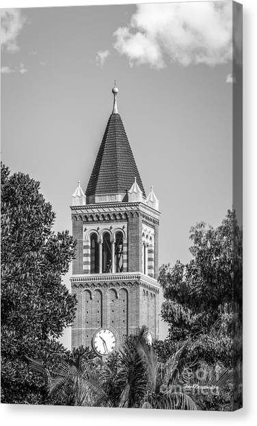 University Of Southern California Usc Canvas Print - University Of Southern California Clock Tower by University Icons