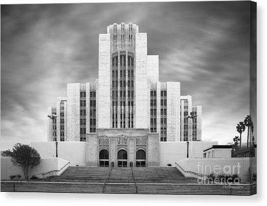 University Of Southern California Usc Canvas Print - University Of Southern California University Hospital by University Icons
