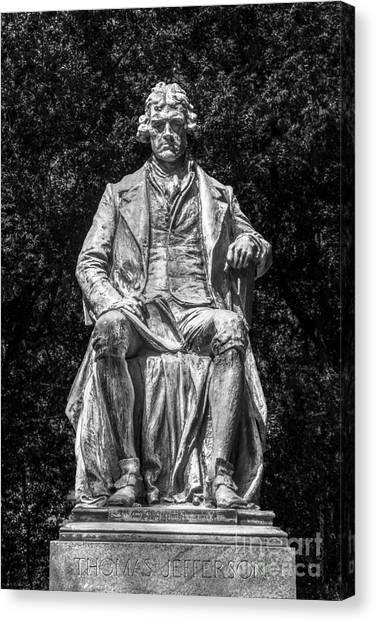 University Of Virginia Canvas Print - University Of Virginia Thomas Jefferson Statue by University Icons