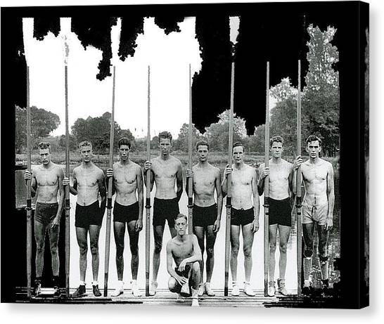 University Of Washington Canvas Print - University Of Washington Rowing Team Olympics Berlin 1936 Color Added 2016 by David Lee Guss