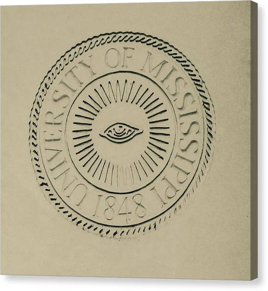 University Of Mississippi Ole Miss Canvas Print - University Seal At Ole Miss by Terry Cobb
