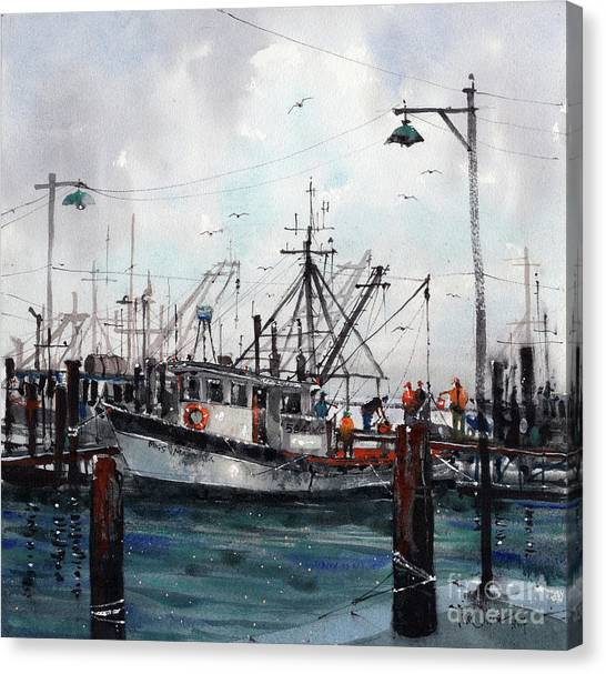 Shrimp Boats Canvas Print - Unloading The Catch by Tim Oliver