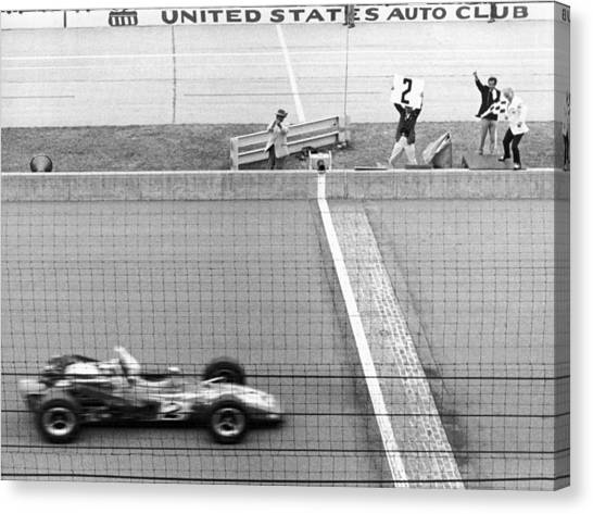 Finish Line Canvas Print - Unser Wins Indie 500 by Underwood Archives