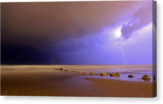 Lightning Canvas Print - Untitled by Eyal Bussiba