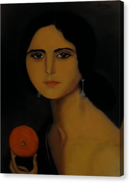 Untitled Woman With Orange Canvas Print