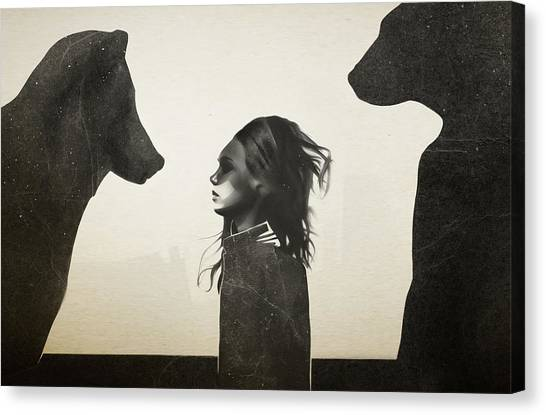 Girl Canvas Print - Unusual Encounter by Ruben Ireland
