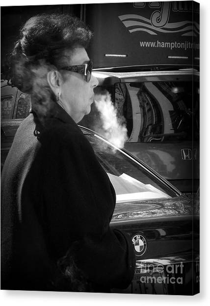 Up In Smoke - Woman With Cigarette Canvas Print by Miriam Danar