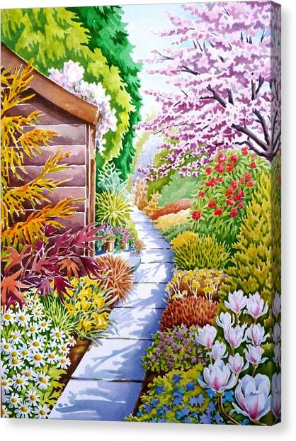 Up The Garden Path Canvas Print by Debbie  Diamond