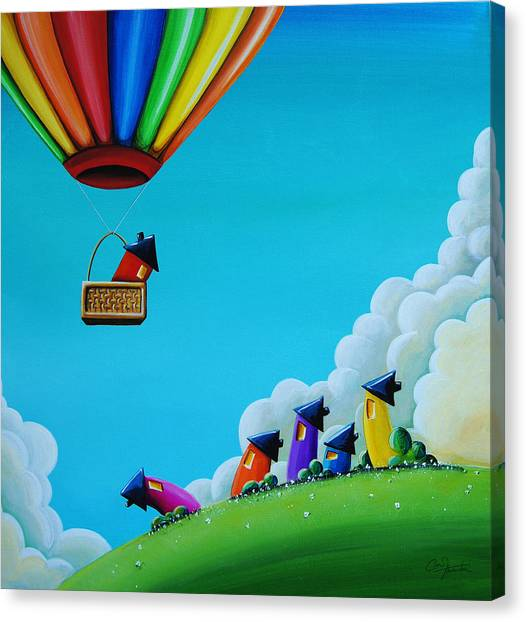 Hot Air Balloon Canvas Print - Up Up And Away by Cindy Thornton