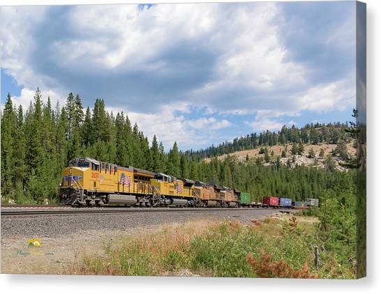 Canvas Print featuring the photograph Up2650 Westbound From Donner Pass by Jim Thompson