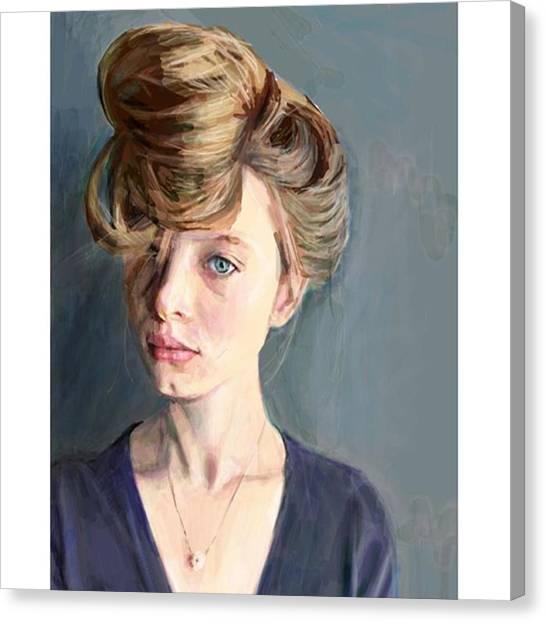 Realism Art Canvas Print - Updo #frenchgirlsapp #portrait #drawing by James Garza