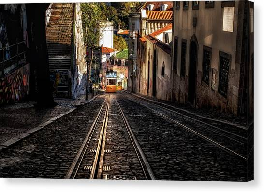 Light Rail Canvas Print - Uphill by Jorge Maia