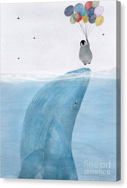 Blue Whales Canvas Print - Uplifting by Bri Buckley