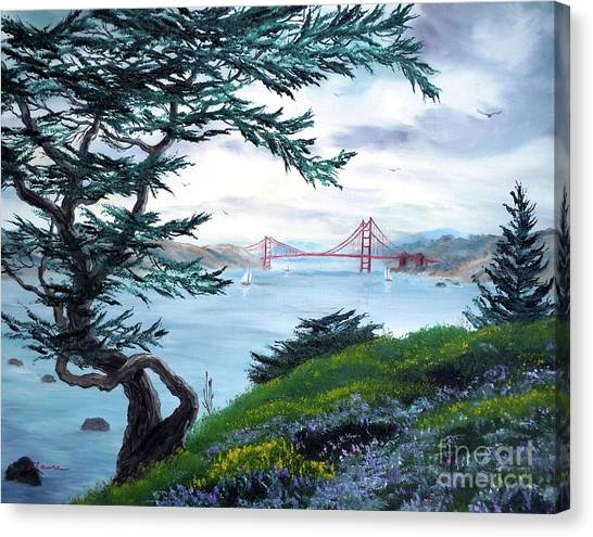 California Landscape Art Canvas Print - Upon Seeing The Golden Gate by Laura Iverson