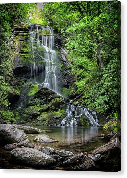 Pisgah National Forest Canvas Print - Upper Catawba Falls by Stephen Stookey