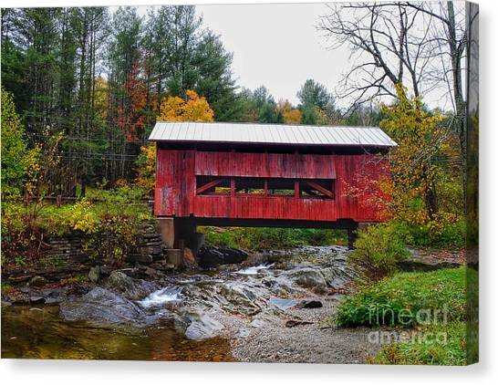 Canvas Print featuring the photograph Upper Cox Brook Covered Bridge In Northfield Vermont by T Lowry Wilson