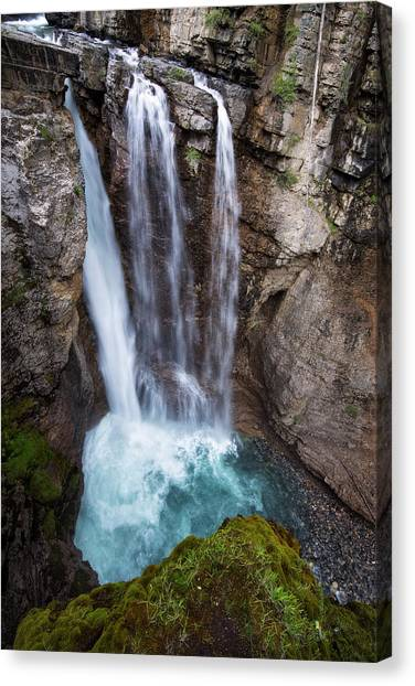 Canada Glacier Canvas Print - Upper Falls Johnson Canyon In Banff National Park by Dave Dilli