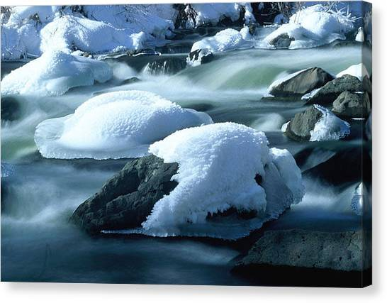 Upper Provo River In Winter Canvas Print by Dennis Hammer