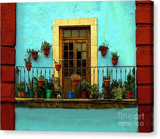 Upper Window In Turqoise Canvas Print by Mexicolors Art Photography