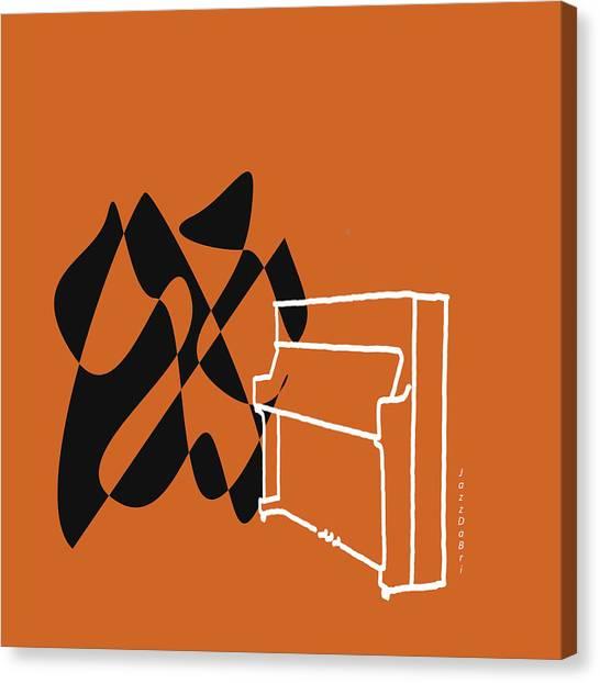Upright Piano In Orange Canvas Print